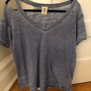 Blue Free People Distressed Top Size S